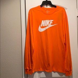 The Nike Tee Orange Swoosh Logo Long Sleeve